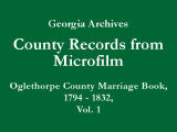 Oglethorpe County Marriage Book,...