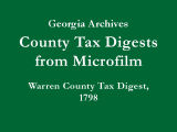 Warren County Tax Digest, 1798