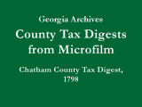 Chatham County Tax Digest, 1798