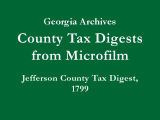 Jefferson County Tax Digest, 1799