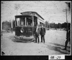 (Fulton County), ca. 1910.  The Whitehall-West End streetcar at the Brookwood Station in Atlanta,...