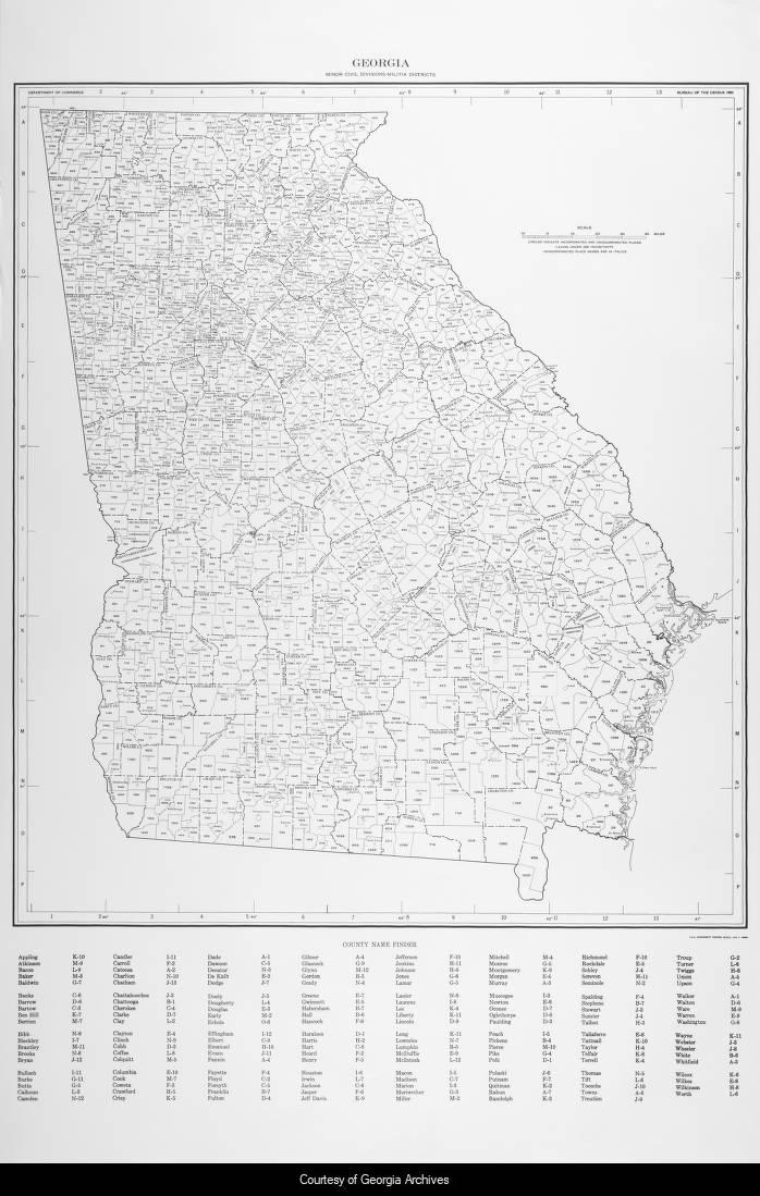 Map Of Georgia Militia Districts.Georgia Minor Civil Divisions Militia Districts Historic Maps