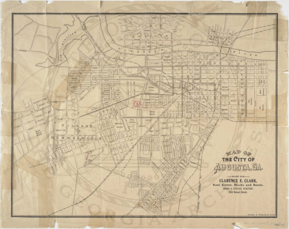 Map Of Georgia Augusta.Map Of The City Of Augusta Ga Historic Maps Georgia S Virtual